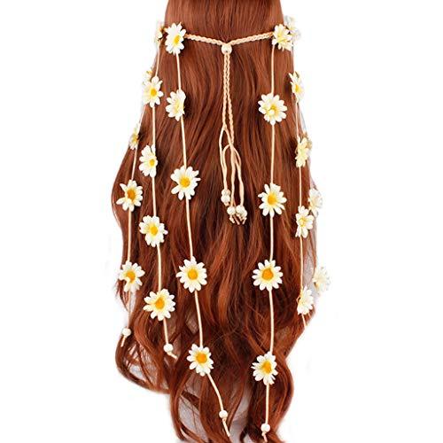 chen Festival Bohemian Künstliche Sonnenblume Stirnband Geflochtene Einstellbare Bunte Daisy Crown Haar Kranz Braut Kopfschmuck ()