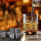 COZYSWAN Whisky Pierres Ice Cubes Glaçons en Pierre 9pcs (Gris) avec Un Sac de Cordon en Velours Noir