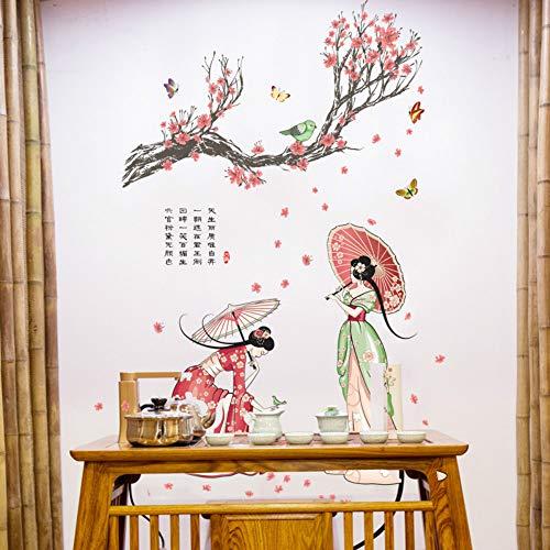 JXND Chinesische klassische schönheit wandaufkleber Alte kostüme weibliche tapete tapete wohnzimmer hintergrund aufkleber 60X90 - Alte Mode Kostüm