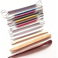 QUMAO - Kit di 13 pezzi Strumenti Utensili di Acciaio Inox per Mestiere Argilla Scultura Intaglio Pottery Tools