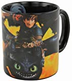 Dreamworks Dragons Ohnezahn & Hicks Flammen Motiv Tasse 320ml, Schwarz
