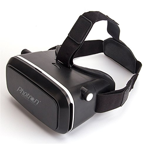 Photron PHVR50 2nd Generation VR Headset Virtual Reality 3D Box Glasses Gear comes with 42mm lenses Fully Adjustable VR Glasses for VR Video, Gaming, Movies, Pictures, for 4.6-6 inch Screen Phones, Inspired by Google Cardboard, Oculus Rift and Samsung Gear - VR Glasses works with leading android, iOS based smartphone brands like Motorola, Samsung, Xiaomi, ZTE, HTC, Nexus, Apple iPhone, Micromax, Lenovo, OnePlus, Redmi, etc