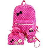 Voberry Girl's Bowknot Dots School Bag Travel Backpack+Handbag+Shoulder Bag 3Pc Set 30cm*16cm*39cm Hot Pink