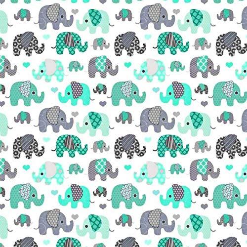 100% Baumwolle Baumwollstoff Kinder Kinderstoff Meterware Handwerken Nähen Stoff Tiermotiv 100x160cm 1 Meter (Elefanten Türkis klein) -