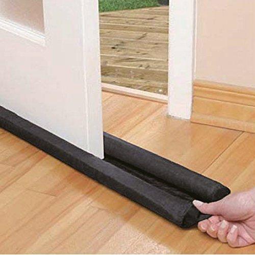 MSV MS432 - Burlete aislante doble para baja de puerta o ventana, poliéster, color negro