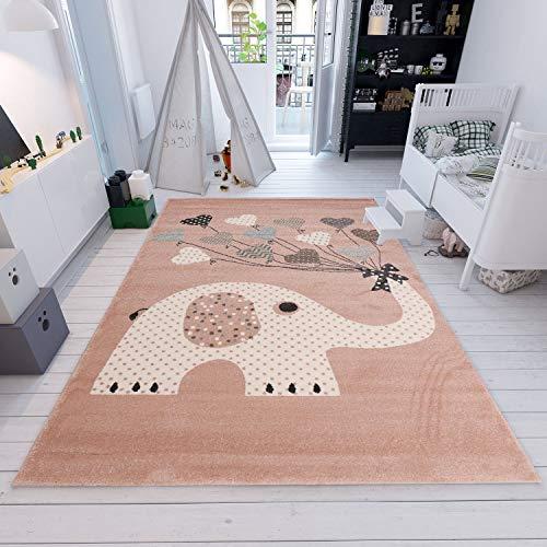 Fashion4Home | Kinderteppiche Elefant mit Herzen Ballons | Kinderteppich für Mädchen und Jungs | Teppich für Kinderzimmer | Schadstofffrei Kinderzimmerteppiche geprüft von Öko-Tex