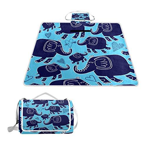 TIZORAX - Manta Impermeable para Picnic y Senderismo, diseño de Elefantes y...