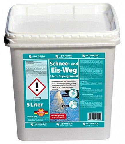 HOTREGA Schnee und Eis Weg 2in1 - Supergranulat 5L - Taumittel, Auftaugranulat, Streumittel - Bis zu 250 m² (Weg Schnee)