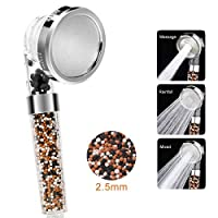 Wemk Filter Shower Head Powerful High Pressure 3 Function Hand Shower Head Double Filtration System 35% Water Saving with an Extra Pack of Filtration Beads as Bonus【Upgraded Version】