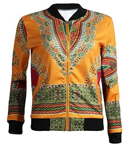 CuteRose Women African Dashiki Slim Casual Jacket Top of 1 S