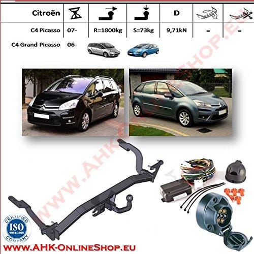 AHK Anhängerkupplung mit Elektrosatz 7 polig für Citroen C-4 Picasso / Grand Picasso 2007- Anhängevorrichtung Hängevorrichtung - starr, mit angeschraubtem Kugelkopf