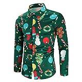 CharMma Herren Hemd Weihnachten Thema Knöpfbar Langarm Stehkragen Shirt (Grün, XL)