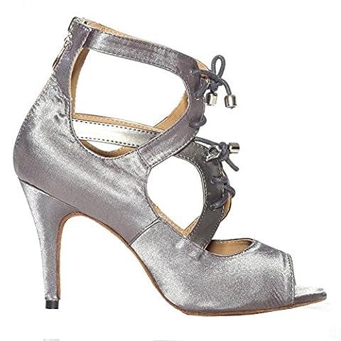 tanz high heels frau sandalen satin leder lateinisch salsa samba tango ballsaal offener zeh weichsohlen schnürsenkel schuh grau . c . 43