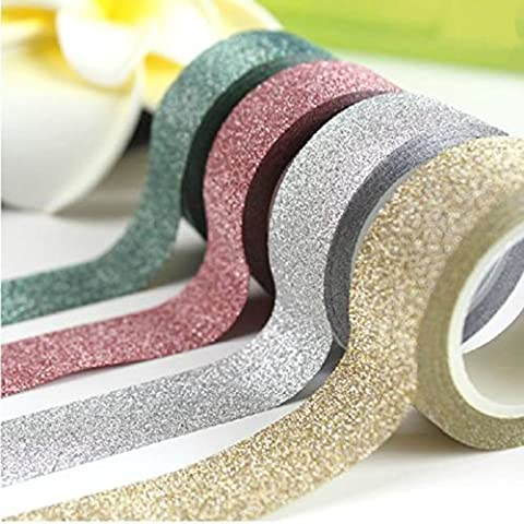 Christmas Glitter / Washi Tape 5m Roll, 15mm Wide, Sticky Backed, Gold, Silver, Green, Red, Self Adhesive, Gift Wrapping, Crafts by Anycraft-UK