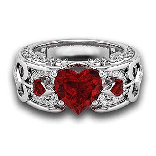 Liquidazione offerte, fittingran anelli ali clearance, pietre preziose naturali rubino anelli birthstone anelli di fidanzamento fedi regalo gioielli (9, rosso)