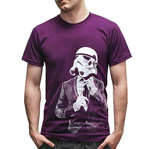 Ispirato retro Star Soldato di cavalleria cravatta e completo Stampato t-shirt corporate galassia guerra t-shirt - Viola, Viola, L
