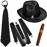 German Trendseller® - Mafia - Kostüm - Set - Deluxe ┃ Gangster Schwarz ┃ 20er Jahre ┃ Al Capone Hut + Krawatte + Hosenträger + Zigarre ┃ Mafiosi Boss ┃ Karneval / Fasching