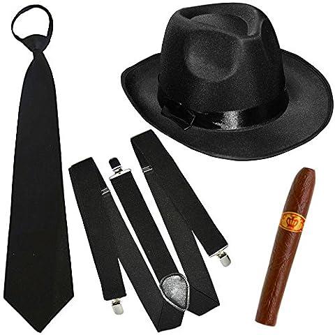 German Trendseller® - mafia costume┃ gangster noir ┃20er ans┃ Al Capone chapeau+cravate+bretelles+cigare┃ Mafiaoso┃ Le parrain ┃carnaval accessoires
