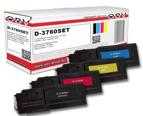 4 x Kompatibler Toner für Dell C3760 / C3765, schwarz,Cyan,Magenta, gelb -