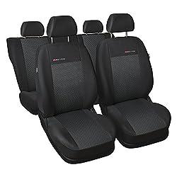 GSC Sitzbezüge Autositzbezug Komplettset 5-Sitze, Universal Grau, Elegance, kompatibel mit Volkswagen VW Polo 5-Sitze