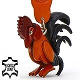 Monkimau Hahn Huhn Henne Leder Schlüssel-anhänger Deko-Figur 3D Charm-s Kinder Mädchen Damen Geschenk-e rot braun schwarz 5cm