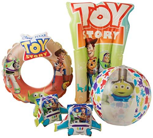 Disney Toy Story 4 Aufblasbares Schwimmbecken Zubehör Für Kinder Mit Woody & Buzz Lightyear | 4-in-1-deluxe-wasserspiel Set Mit Kinderarmbändern, Schwimmring, Wasserball Und Schwimmkörper (Aufblasbarer Toy Story)
