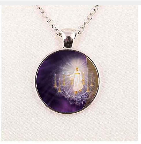 Halskette mit Anhänger Jesu Christus christlicher Anhänger Katholische religiöse Glaskette
