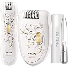 Philips HP6540/00 - Set con depiladora eléctrica de dos velocidades, depiladora eléctrica de precisión y pinzas con luz