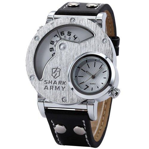 SHARK Montre Bracelet Militaire Homme Sptive Bracelet en Cuir Cadran Argent¨¦ SAW054