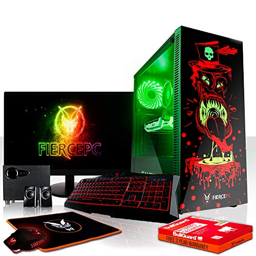 Fierce Gobbler RGB Gaming PC Bundeln - 3.8GHz Quad-Core AMD Athlon X4 950, 240GB SSD, 2TB HDD, 16GB, NVIDIA GeForce GTX 1060 6GB, Tastatur (QWERTY), Maus, 21.5-Zoll-Monitor, Lautsprecher 820976