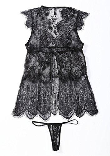 Smile YKK Nuisette Transparente Lingerie Erotique Sexy Robe de Nuit String Pyjama Babydoll Coquine Noir