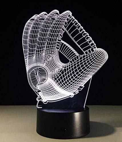 (Nachtlicht Wandleuchte Led Lampe Touch Farbe Led Nachtlicht Stimmung Licht 3D Baseball Handschuh Acryl Schlafzimmer Beleuchtung Dekoration Fußball Handschuhe Nachtlicht für Küche Schlafzimmer Wohnzim)