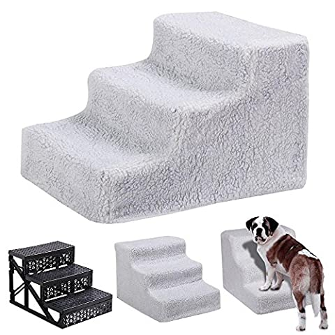 tinkertonk Pet Stairs 3 Steps Stairs Dog Cat Steps Pet Ramp Ladder Portable Travel (White)