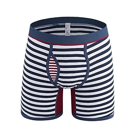 YIZYIF Mens Striped Boxer Briefs Longer Leg Breathable Trunks Briefs Underwear Blue Medium(Waist 26.0-39.0