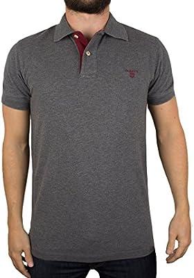 Gant Hombre Contrast Collar Pique Rugger Polo Shirt, Gris