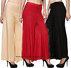 Rooliums Brand Factory Outlet Womens Light Weight Palazzo (Pack of 3) Free Size (Beige,Red,Black)
