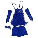 Phenovo Ensemble de 5pcs Costume de Danse Fille Robe de Latin Salsa Glands 100% Cotton Enfants - Bleu, 140cm