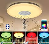 Autai LED Ceiling Light with Bluetooth Speaker Music Sync Mount Dimmable Ceiling Lamp Fixture for Living Room Bedroom Dining Room