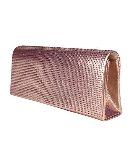 Schompi Glitzernde Damen Tasche Abendtasche Clutch Bag mit abnehmbarer Schulterkette Kettentasche Strasssteine, Farbe:Rosa (Purse Glitter-abend-clutch)