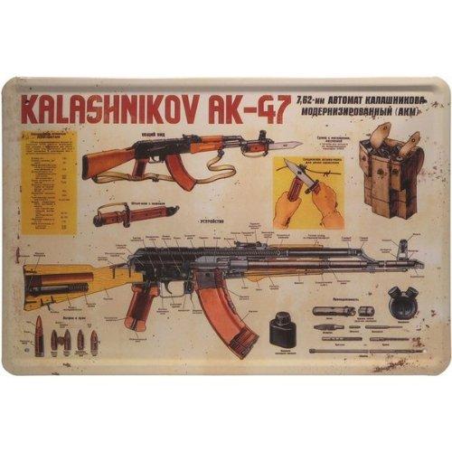 Blechschild Kalashnikov AK-47 Gewehr 20 x 30 cm Blech 146 -