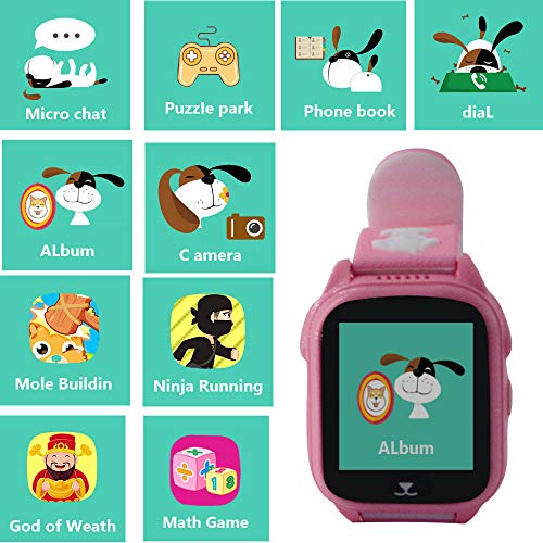 Hangang Smartwatch GPS Tracker Kids 9 Giochi Kids Phone, Smart Watch per 3-14 anni Ragazzi Ragazze One-button SOS Camera Sport Outdoor Digital Wrist Bracciale(pink)