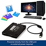 Lorenlli 3,5 Zoll 1,44 MB FDD Schwarz USB Portable Externe Schnittstelle Diskette FDD Externes USB-Diskettenlaufwerk für Laptop