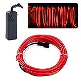 Lychee Flexibel 9ft 3 m Neon Beleuchtung Draht Lichtschlauch Leuchtschnur EL Kabel Wire mit 3 Modis für Partybeleuchtung(Rot)