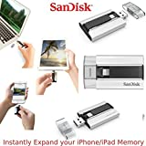 SanDisk iXpand 32GB für iPhone iPad iPod Speicherkarte Dual Flash Stift Speicher Karte Beleuchtung USB für iPhone 5 5s 5c 6 6se 6s Plus iPad-Luft 1 2 iPad Mini 2 3 iPad Pro iPod touch 5th 6th Gen. - Silber & Schwarz, 32GB