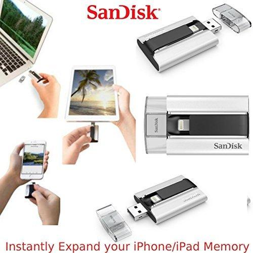 SanDisk iXpand 32GB für iPhone iPad iPod Speicherkarte Dual Flash Stift Speicher Karte Beleuchtung USB für iPhone 5 5s 5c 6 6se 6s Plus iPad-Luft 1 2 iPad Mini 2 3 iPad Pro iPod touch 5th 6th Gen. - Silber & Schwarz, 32GB