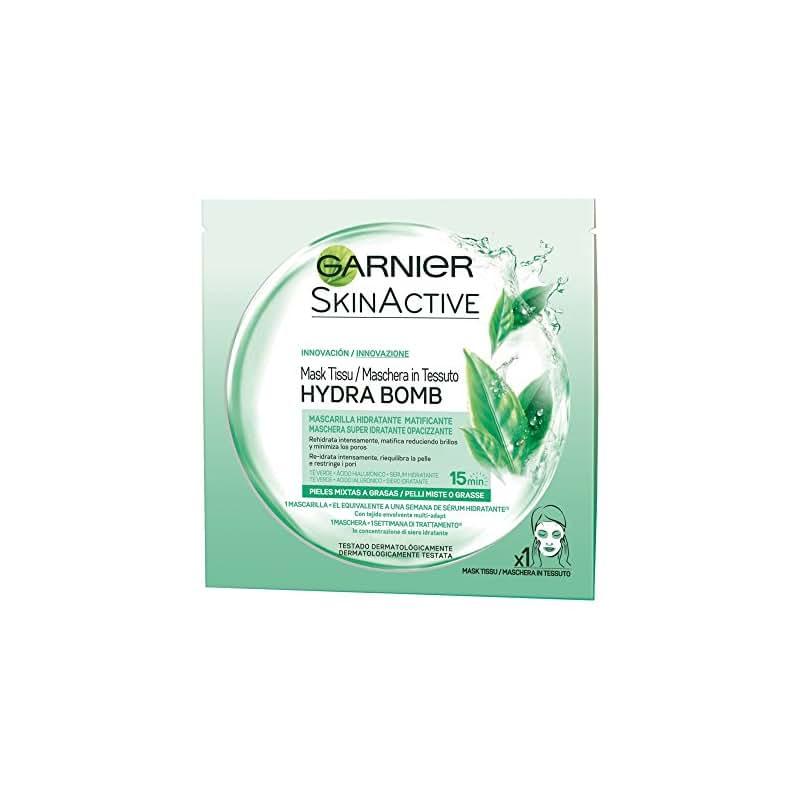 Garnier SkinActive Hydra Bomb Maschera Viso in Tessuto Super Idratante Opacizzante per Pelli Miste o Grasse