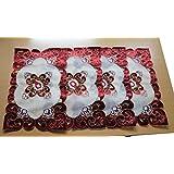 Pindia Table Mat Rectangular Placemat Set Of 4-Maroon-43*28 (cms)