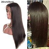 Parrucche lace front 360 parrucca donna capelli veri capelli lisci lace front wigs human hair parrucche donna capelli veri capelli umani brasiliani vergini(20 inch/50 cm, Colore naturale)