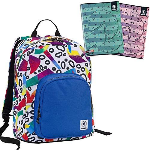 Zaino invicta - ollie pack - roots bianco blue - tasca porta pc padded - scuola e tempo libero americano 25 lt + + 2 maxi quaderni invicta in omaggio