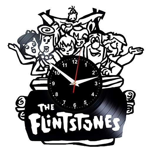 EVEVO The Flintstones Wanduhr Vinyl Schallplatte Retro-Uhr Handgefertigt Vintage-Geschenk Style Raum Home Dekorationen Tolles Geschenk Wanduhr The ()